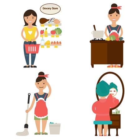 homemaker: Illustration housewives schedule