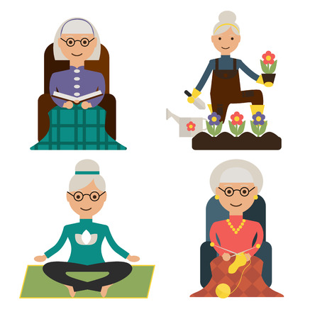 leisure time: Set of granny leisure time doing
