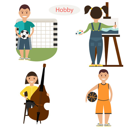 Set of boys and girls hobbies