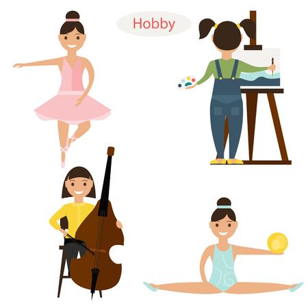 hobbies: Set of girls hobbies Illustration