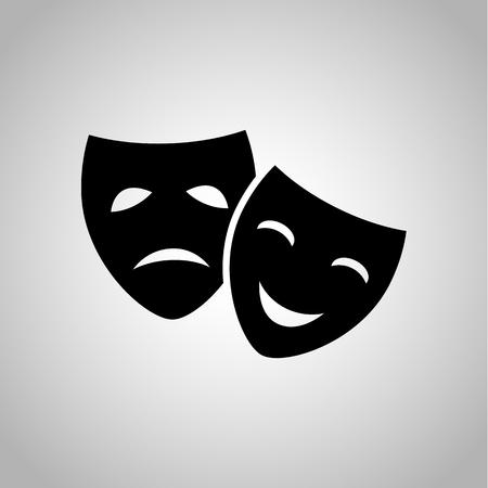 Drama y máscaras de la comedia icono Ilustración de vector