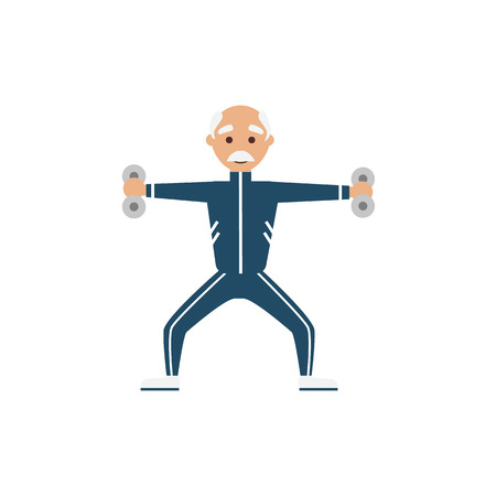 physical exercise: Illustration grandfather, engage in physical exercise Illustration