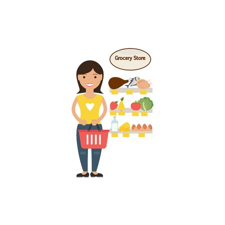 Illustration housewife make food shoppig Vector Illustration