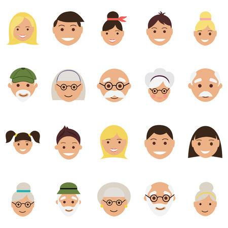 old age: Set of twenty old age and youth avatar faces Illustration