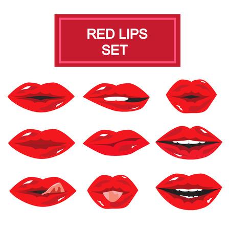 seduction: Set of nine red girl lips