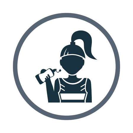 girl drinking water: Sport girl drink water icon Illustration