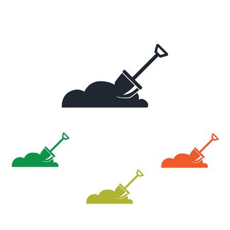 digging: Shpvel digging the soil icon Illustration