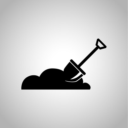 digging: Shpvel digging the soil icon Illustration
