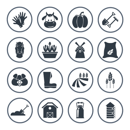 simple purity flowers: Set of sixteen agriculture icons Illustration