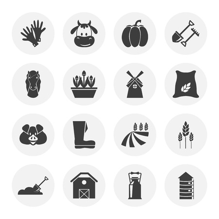 silos: Set of sixteen agriculture icons Illustration