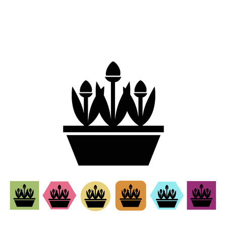 simple purity flowers: Flowers in the pot icon