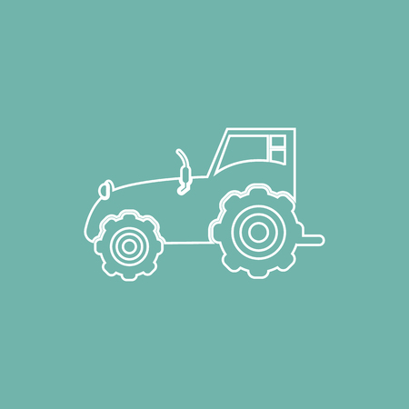 plowing: Agriculture tractor icon Illustration