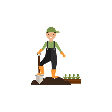 digging: Illustration of farmer digging the soil
