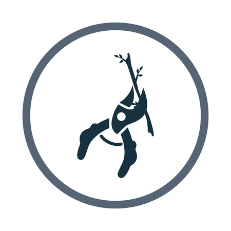 pruner: Pruner cutting the branch icon Illustration