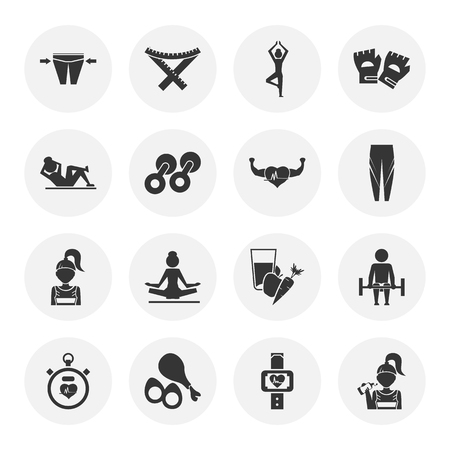 heart tone: Set of sixteen sport and fitness icons Illustration