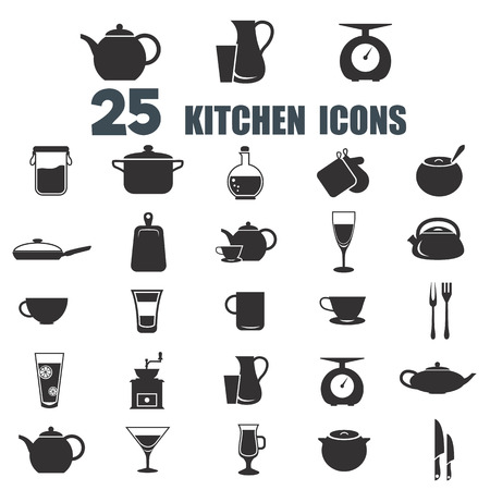 Set of twenty five kitchen icons Illustration