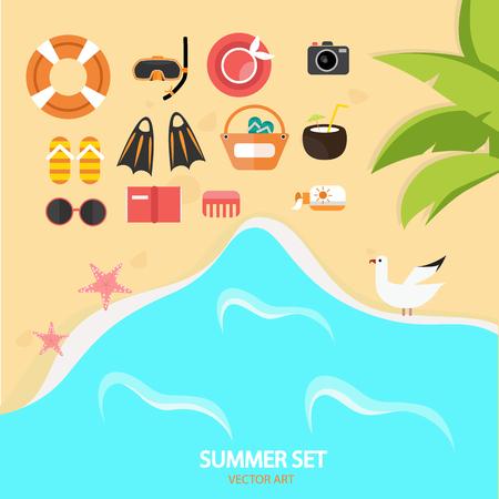sunglasses recreation: Color beach rest elements on the coast