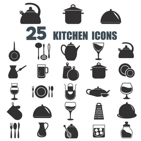 twenty five: Set of twenty five kitchen icons Illustration