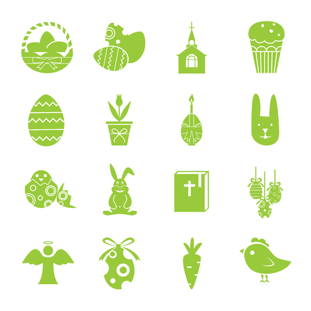 sixteen: Set of sixteen Easter icons