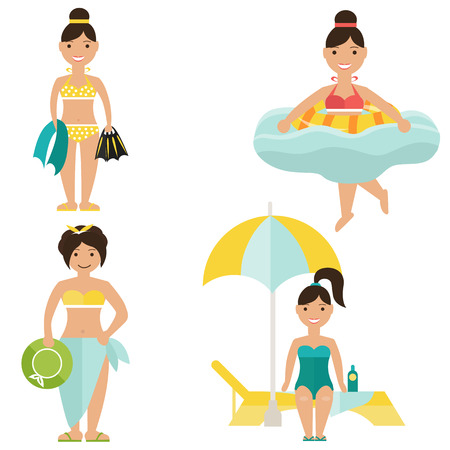 bathing suits: Set of girls in bathing suits Illustration