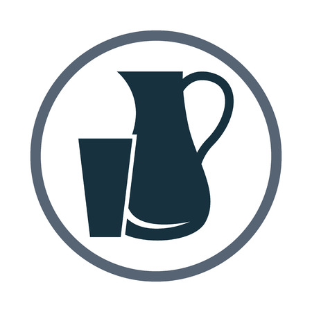 pitcher: Pitcher and glass icon Illustration