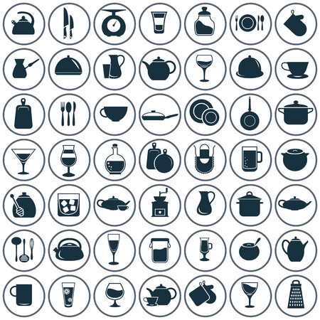 Set of fifty kitchen icons