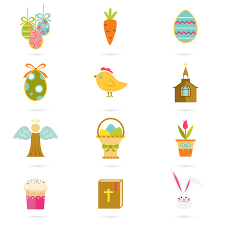 greating card: Color set of sixteen Easter icons