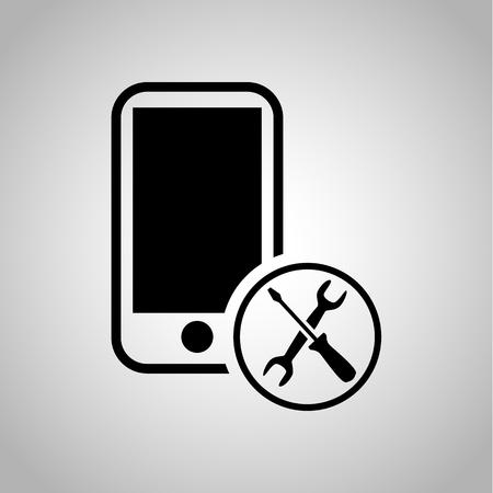 mobile phone icon: Mobile phone repair icon Illustration