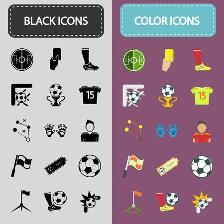 Conjunto de iconos de fútbol treinta negro y color