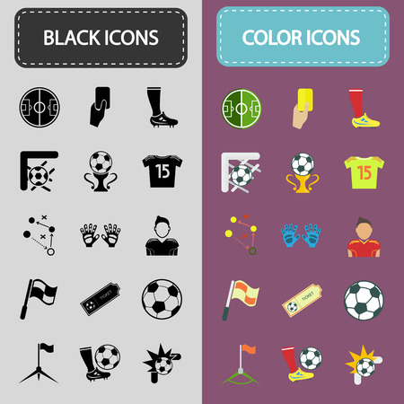 Set of thirty black and color football icons Illustration