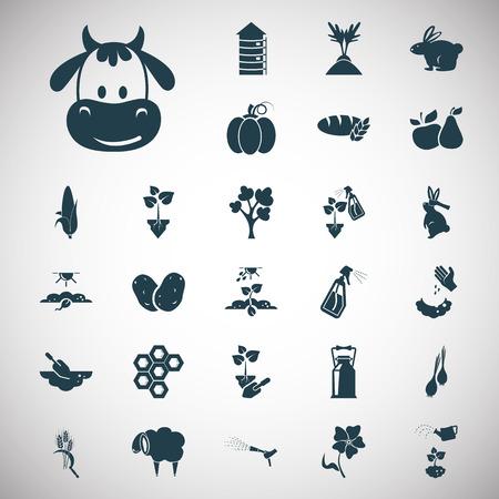 potato tree: Set of twenty seven agriculture icons Illustration