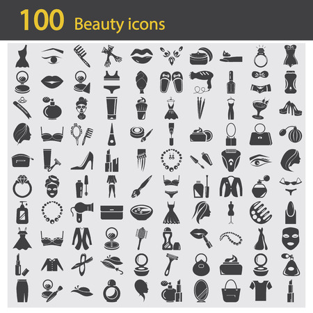 Set of one hundred beauty icons
