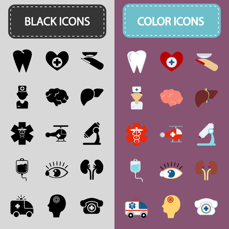 microscope lens: Set of fifteen black and color medicine icons