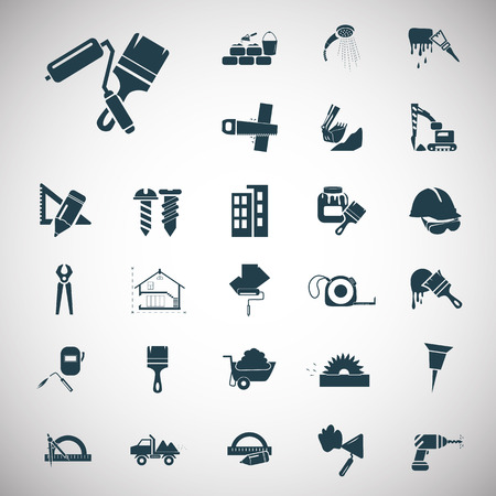 Set of twenty seven construction icons