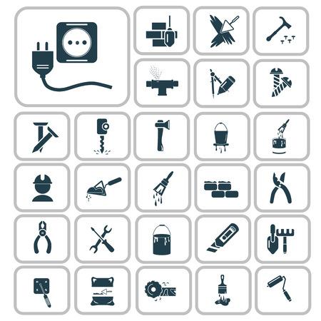 Set of twenty seven construction icons