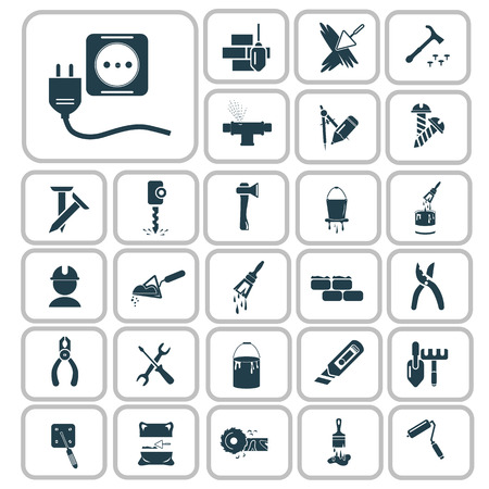 Set van zevenentwintig bouw iconen
