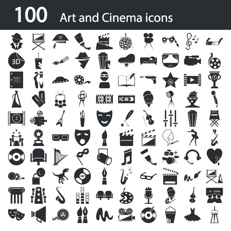 pen icon: Set of one hundred art and cinema icons Illustration