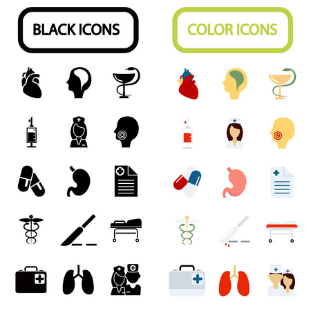 fifteen: Set of fifteen black and color medicine icons