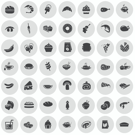 grapes and mushrooms: Set of forty nine food icons