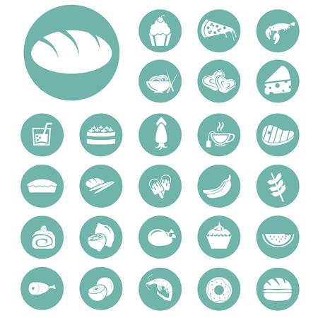 banana bread: Set of twenty seven food icons Illustration