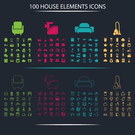 det: Det of one hundred house icons