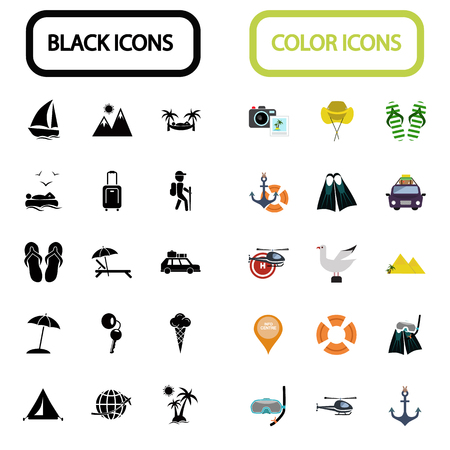 llave de sol: Conjunto de treinta iconos de viaje negro y color Vectores
