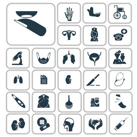 urinary bladder: Set of forty medicine icons