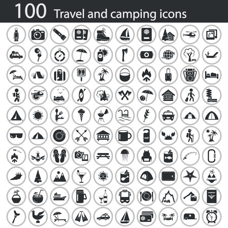 hiking boot: Set of one hundred travel and camping icons