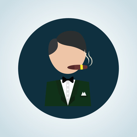 lucky man: Illustration of casino player icon
