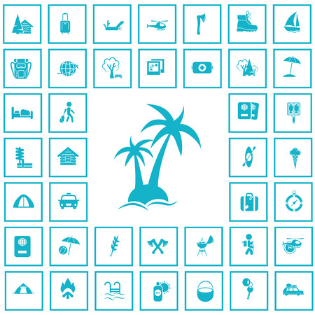 ice ax: Set of forty travel and camping icons Illustration