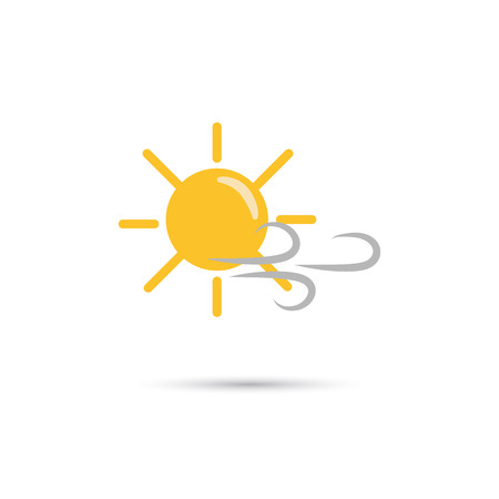 forecaster: Illustration of sunny weather with wind icon