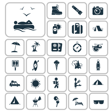 wooden shoes: Set of twenty seven travel and camping icons Illustration
