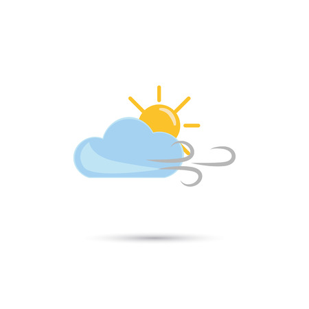 forecaster: Illustration of cloudy weather with wind and sun icon