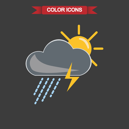 forecaster: Illustration of storm weather with sun icon
